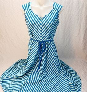 Teal blue striped midi dress with rope belt large